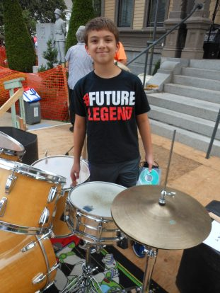 FOUNDERS DAY NO. 6: 12-year-old Gino Figliola has been performing half of his life at Saugus's Annual Founders Day. He is the son of former Saugus resident Brenda Figliola and loves to play the drums with the background of DJ music.
