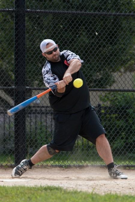 Shawn Leonard struck the ball during the Strike Out Cancer tournament in Glendale Park