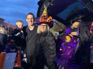 Witches lined Mayor Brian Arrigo and his family's Trunk-or-Treat on Sunday night at Rumney Marsh Academy. (Advocate photos by Tara Vocino)