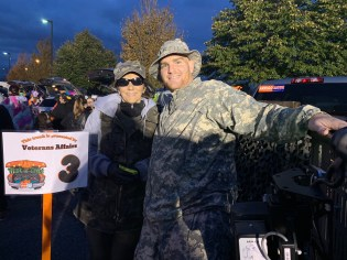 Veterans Office Administrative Assistant Donna Dreeszen and Veterans Office Director Marc Silvestri's trunk was appropriately army style during Fright Night on Sunday.