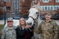 Master Sergeant Paul Tobin, Horses and Heroes Foundation Founder Skyllar Mullvaney and Private Raquel McComas helped present Everett Strong to the City of Everett.