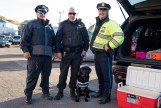 Officer Flammia, Officer Dinuccio, and Sergeant Fox, took Mary the police dog in as a prisoner.