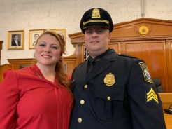 His partner of 20 years, Andrea French, and Police Sgt. John Cannon.