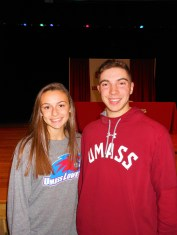 COLLEGE-BOUND SACHEM ATHLETES: With half of their senior year at Saugus High School (SHS) still remaining, standout student athletes Allison LeBlanc and Todd Tringale this week signed letters of intent with their respective Division One colleges. LeBlanc, the top scorer on the SHS girls' soccer team, will be headed to the University of Massachusetts Lowell when she graduates next year to play soccer there. Tringale still has one more season to pitch for the Sachems before he plans to play collegiate baseball for the University of Massachusetts Amherst. (Saugus Advocate photo by Mark E. Vogler)