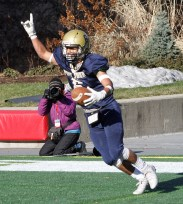 TE Jesus Rivera tells the PJ fans they are number one after scoring another Pope John TD.