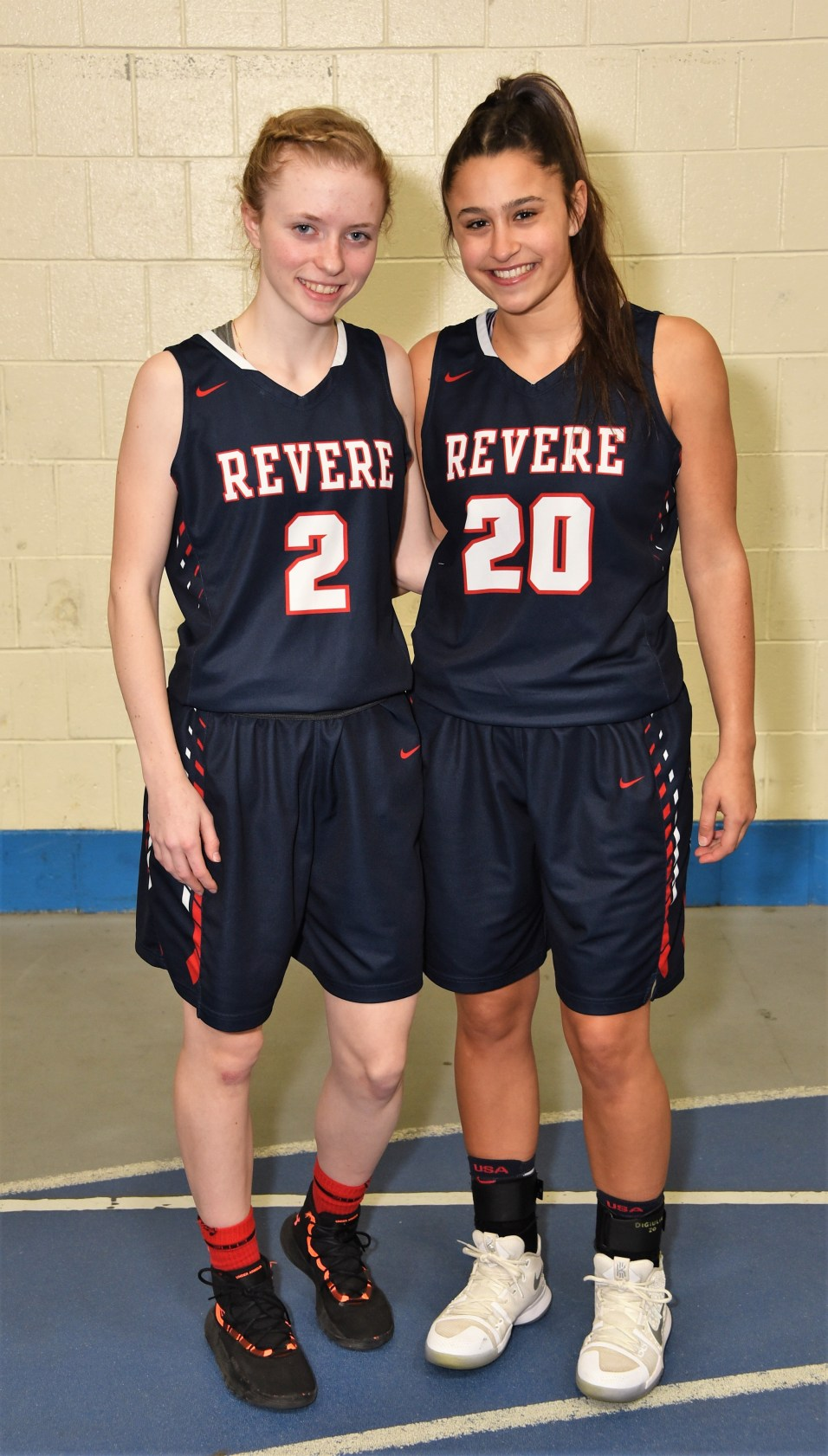 Shown ready to lead the RHS Girls Patriots Basketball are Captains Erika Cheever and Emily DiGiulio