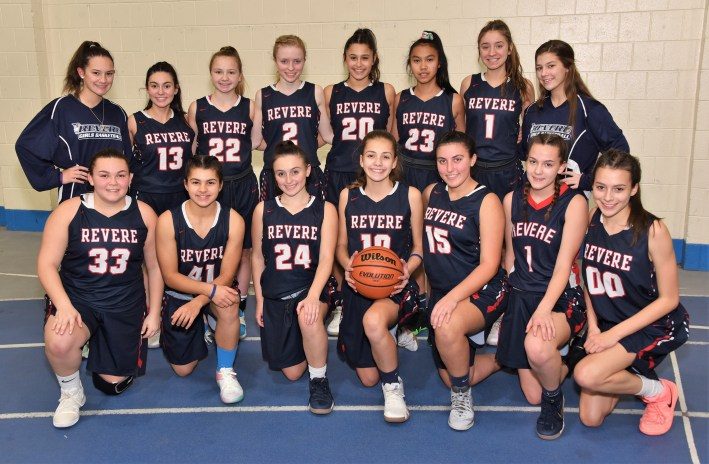 MEET THE RHS PATRIOTS GIRLS BASKETBALL TEAM: Shown from left to right are (top row) Chloe Giordano, Ally Guingue, Katie O'Donnell, Erika Cheever, Emily DiGiulio, Soleil Yuoung Caroline Stasio, Alanna Nelson (bottom row) Erika Anderson, Skyla DeSimone, Frankie DeAngelis, Carolina Carvalho-Bettero, Nina Cassinello, Lyndsey Anderson, and Isabella Cuartas-Lopera. (Advocate photos by Ross Scabin)