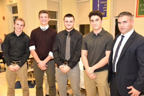 2019 LHS FOOTBALL CAPTAINS: John Lee, Clayton Marengi, Michael Julian, and Anthony Floramo with Head Coach Pat Lamusta.