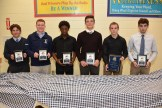 2018 Varsity Football Most Valuable Player award winner Jaret Simpson, Linesman of the Year award winner Liam Farrell, Scout Team Player of the Year Bakari Mitchell, Offensive Player of the Year Clayton Marengi, GUTSO award winner John Lee, and Special Teams Player of the Year Leo Quinn