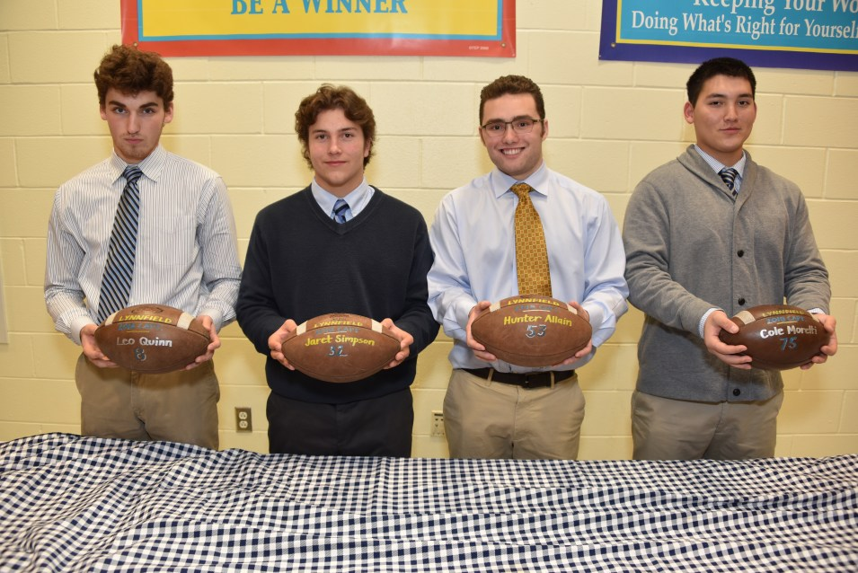 LHS FOOTBALL 2018 CAPTAINS BALL: Leo Quinn, Jaret Simpson, Hunter Allain, and Cole Moretti.