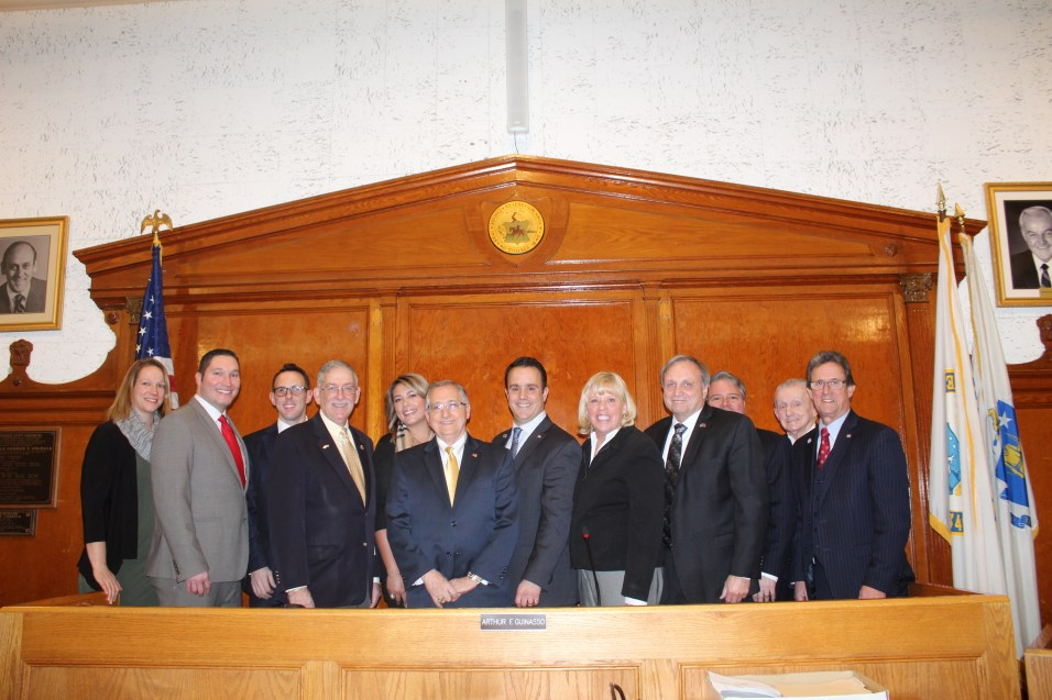 From left to right: City Clerk Ashley Melnik, Councillor-at-Large Steven Morabito, Mayor Brian Arrigo, Ward 2 Councillor Ira Novoselsky, 2018 City Council President Jessica Giannino, 2019 City Council President Arthur Guinasso, 2019 City Council Vice President Patrick Keefe, Jr., 2018 City Council Vice President Joanne McKenna, Ward 6 Councillor Charles Patch Sr., Councillor-at-Large Daniel Rizzo, Ward 5 Councillor John Powers and Councillor-at-Large Anthony Zambuto.