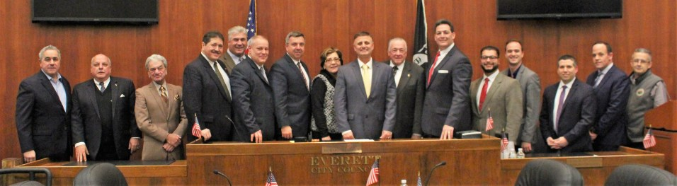 Shown, from left to right, are State Representative Joseph McGonagle, Councillor-at-Large Wayne Matewsky, Ward 2 Councillor Stephen Simonelli, Councillor-at-Large Peter Napolitano, Councillor-at-Large Michael Marchese, Ward 4 Councillor John Leo McKinnon, Clerk of Committees John Burley, Ward 5 Councillor Rosa DiFlorio, Council President Richard Dell Isola, Councillor-at-Large John Hanlon, Ward 1 Councillor Fred Capone, Ward 3 Councillor Anthony DiPierro, City Clerk Sergio Cornelio, State Senator Sal DiDomenico, Ward 6 Councillor Michael McLaughlin and Council Aide Michael Mangan.