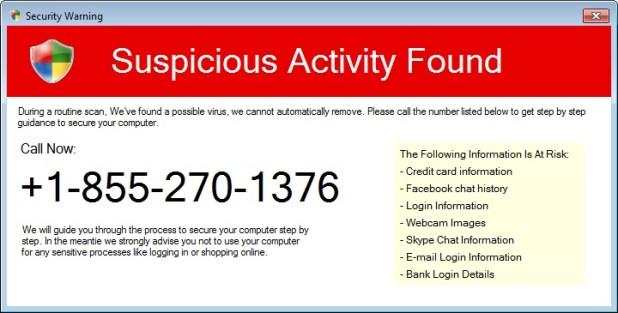 fake suspicious activity found alert