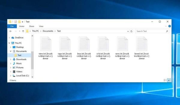Dewar Ransomware - encrypt files with .[kryzikrut@airmail.cc].dewar extension