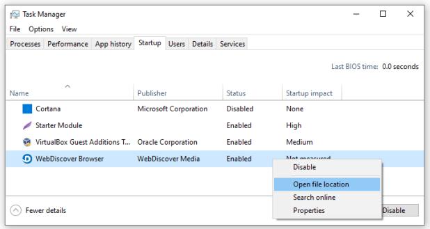WebDiscover Browser in Task Manager