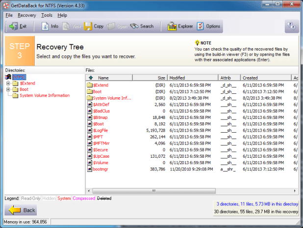 GetDataBack interface in file recovery mode