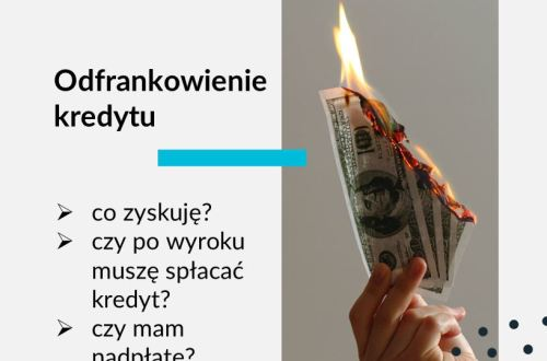 Grafika na bloga Adwokat Frankowiczów adwokat z Warszawy Jakub Ryzlak. Tekst: Odfrankowienie kredytu; co zyskuję? czy po wyroku muszę spłacać kredyt? czy mam nadpłatę?; grafika: płonące pieniądze dolary