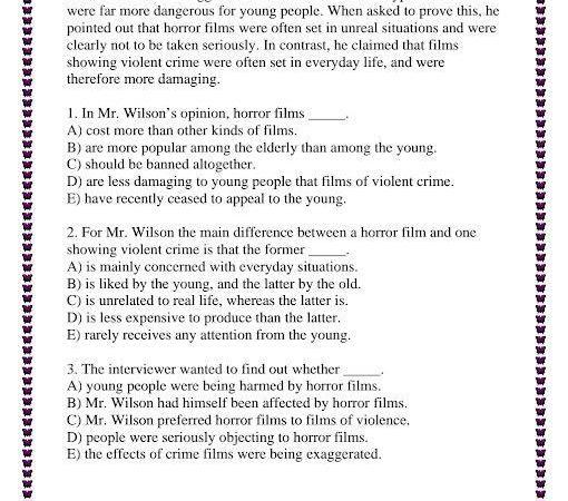 ورقة عمل لغة إنجليزية الصف الثامن الفصل الثالث
