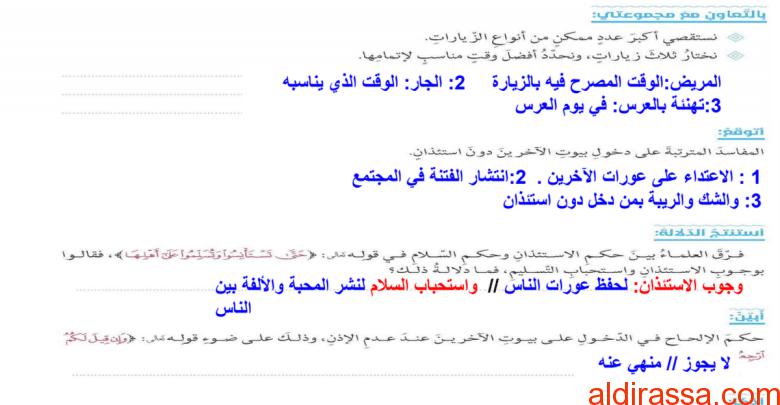التواصل الاجتماعي آداب وسلوك تربية إسلامية الصف الثانى عشر الفصل الثاني