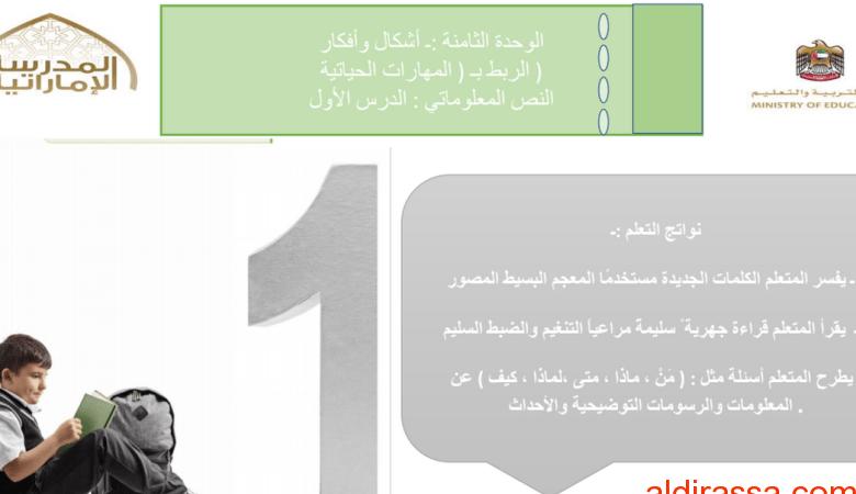 بوربوينت الحل لدرس النص المعلوماتي لغة عربية الصف الثانى الفصل الثالث