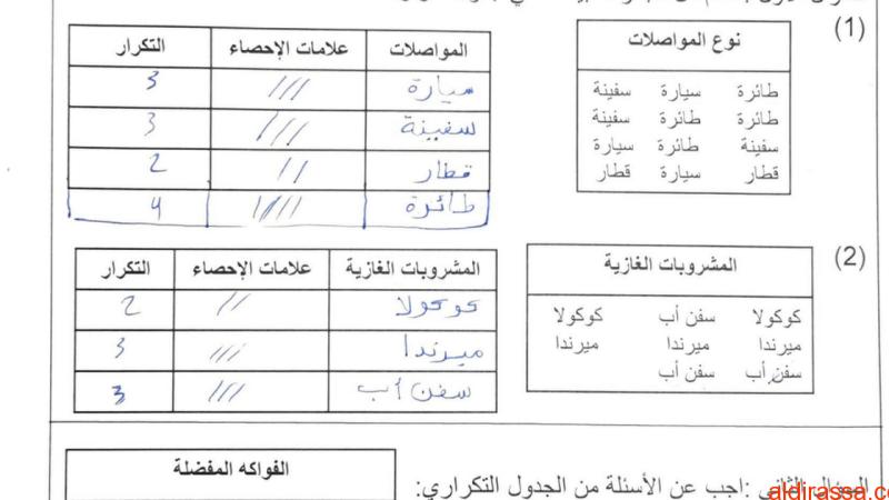 تدريبات الوحدة 12 رياضيات مع الحل للصف الخامس