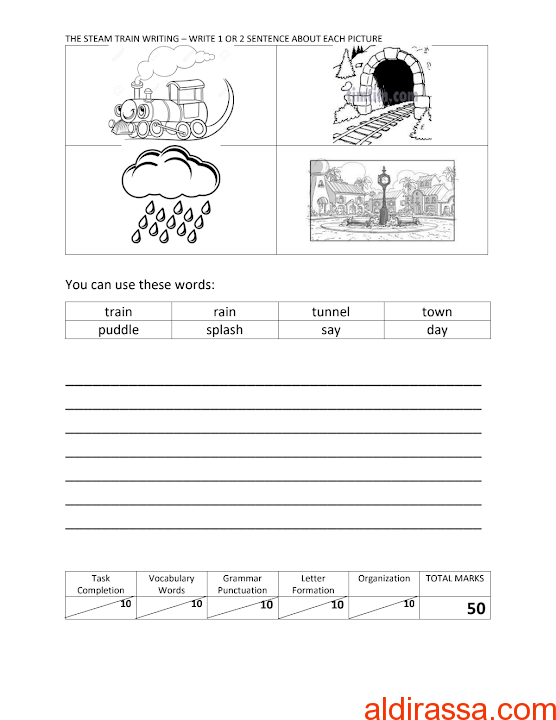 تمارين لامتحان الكتابة لغة إنجليزية الصف الثالث الفصل الثالث