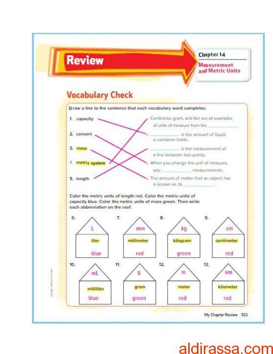 حل الفصل 14 رياضيات منهج إنجليزي الصف الرابع الفصل الثالث