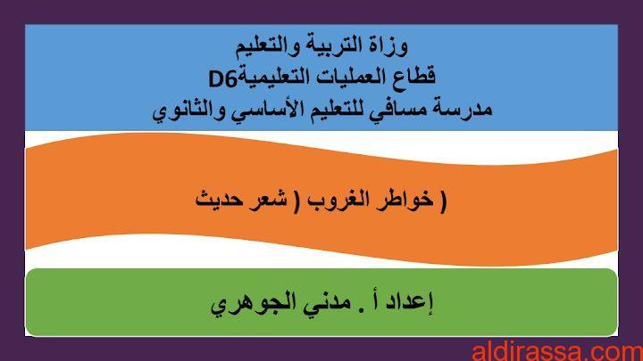 الحل لدرس خواطر الغروب لغة عربية الصف التاسع الفصل الثالث
