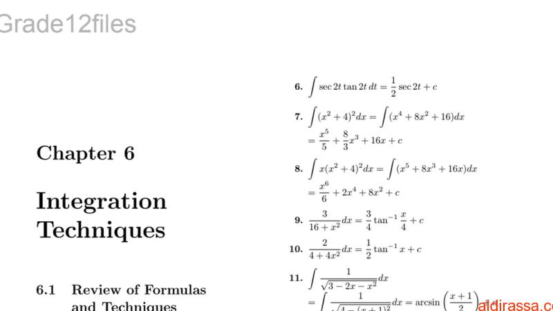 دليل المعلم رياضيات طرائق التكامل باللغة الانكليزية الصف الثانى عشر متقدم