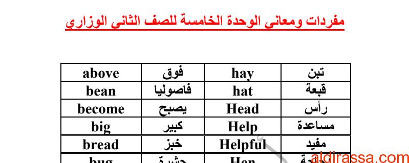 الصف الثانى الفصل الثاني مفردات الوحدة الخامسة لغة إنجليزية