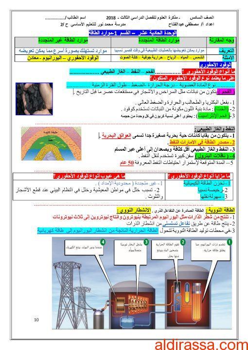 مذكرة علوم في الوحدة 11 الصف السادس الفصل الثالث