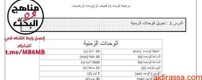 مراجعة للوحدة 11 رياضيات الصف الرابع الفصل الثالث