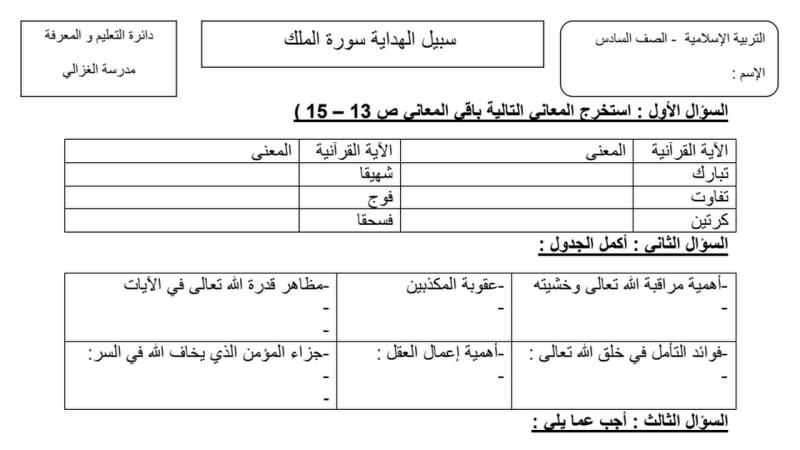 مراجعة عامة لدروس الفصل الثالث التربية الاسلامية للصف السادس