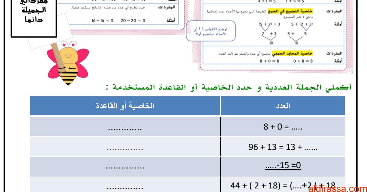 ورقة عمل جمع وطرح الاعداد الكلية رياضيات الصف الرابع الفصل الاول