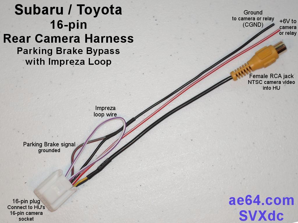 hight resolution of subaru 16 pin rear camera harness with parking brake pass thru