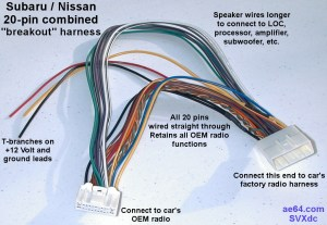 20pin bined wiring Harness for Subaru Impreza, Forester, Crosstrek, Legacy, Outback, Nissans