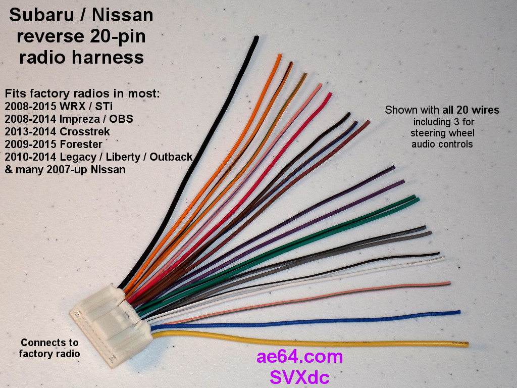 Reverse Radio Wiring Harness For Subaru And Nissan Factory Radios