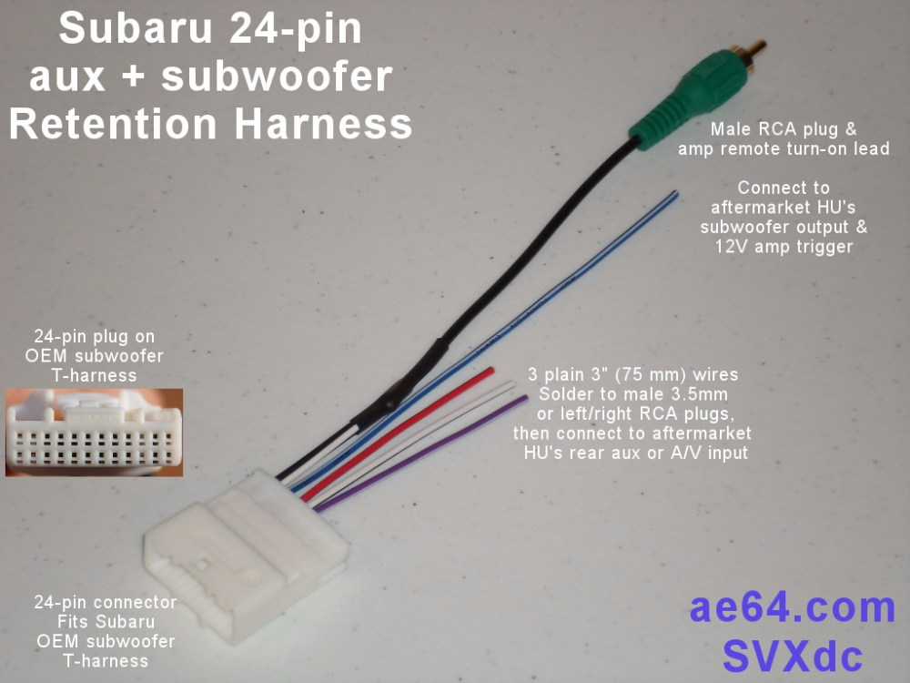 medium resolution of subaru subwoofer wiring harness wiring diagram yer 24 pin aux retention harness for subaru legacy