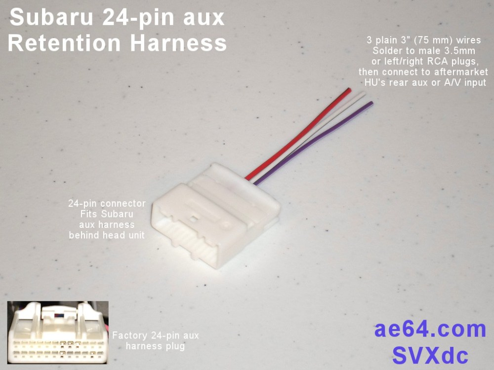 medium resolution of picture of subaru 24 pin aux retention harness with 3 plain wires