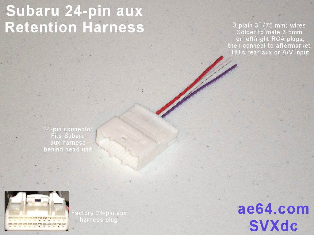 hight resolution of picture of subaru 24 pin aux retention harness with 3 plain wires