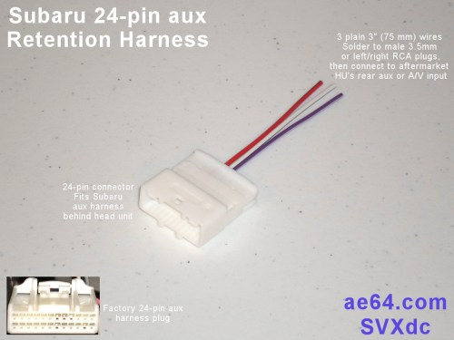 small resolution of picture of subaru 24 pin aux retention harness with 3 plain wires