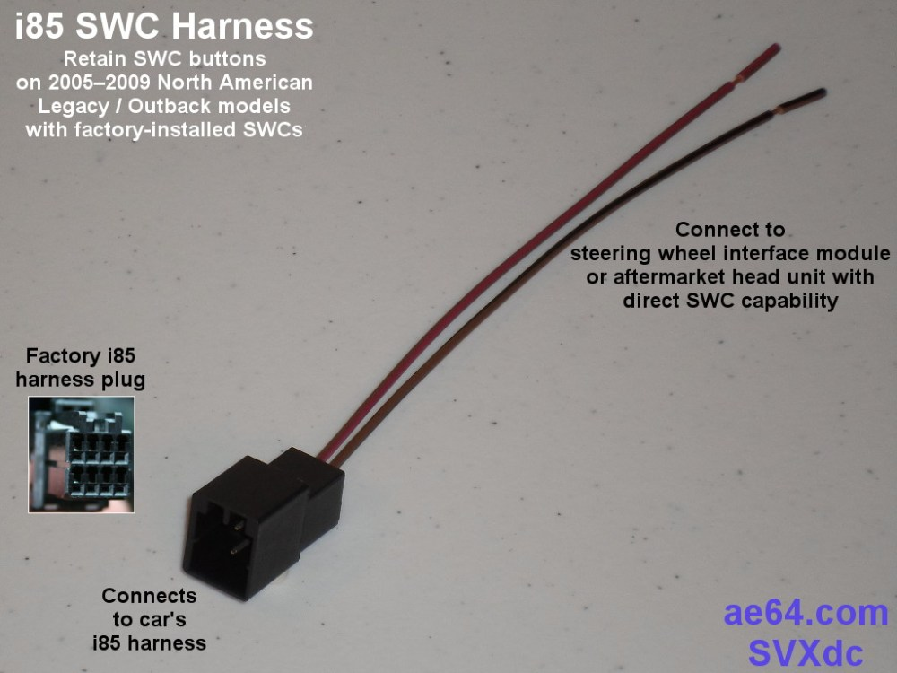 medium resolution of i85 harness with swc wires