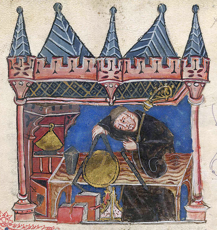 Richard of Wallingford, Abbot of St. Albans, mathematician and inventor of a mechanical astronomical clock. He is shown seated at his desk measuring with a pair of compasses