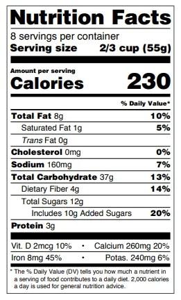 tabella valori nutrizionali americana con dati affiancati