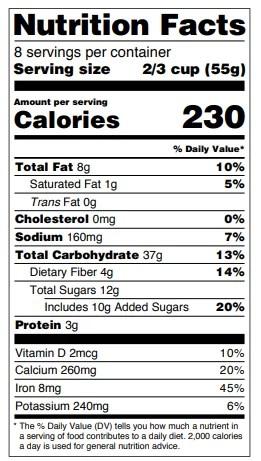 tabella valori nutrizionali usa