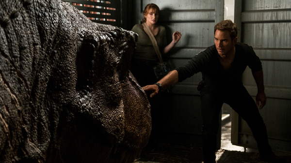 Sleep Dino More: Claire (Bryce Dallas Howard) and Owen (Chris Pratt) try not to wake one of Isla Nublar
