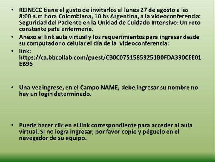 REINECC Videoconferencia: Seguridad del Paciente en la Unidad de Cuidado Intensivo: Un reto constante para Enfermería 1