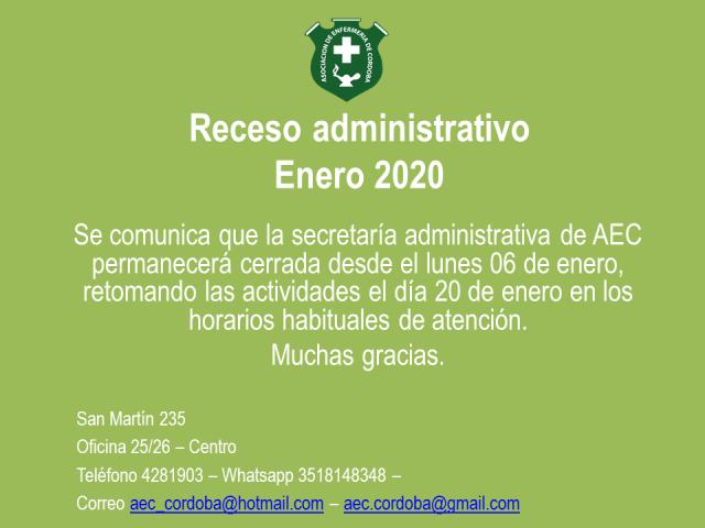Receso administrativo - Enero 2020