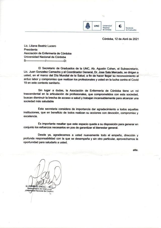 Reconocimiento de la Secretaría de Graduados de la UNC 3