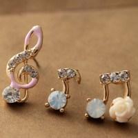 Super Cute Music Notes Rhinestone Earring Set on Luulla